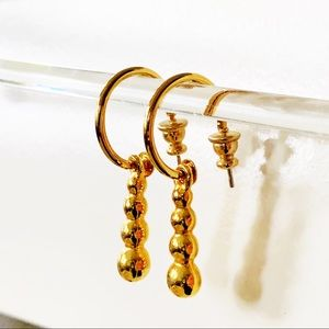 Gold Tone Hoop Earrings with Charm